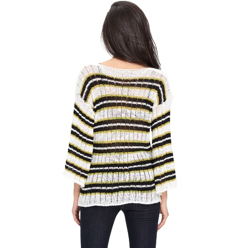 Sexy Women Striped Sweater Dropped Shoulder Sheer Hollow Out V Neck Long Sleeve Cuff Knit Casual Top Black/Yellow