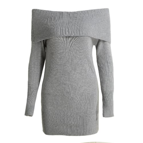 Autumn Winter Women Off Shoulder Knitted Dress Long Sleeve Party Short Dress Black/Grey