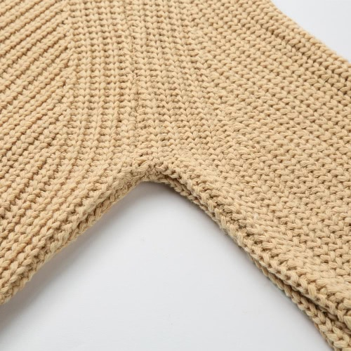 New Fashion Women Knitted Jumper Solid Ribbed Multi Ways Long Sleeve Casual Sweater Beige/Yellow G3343Y
