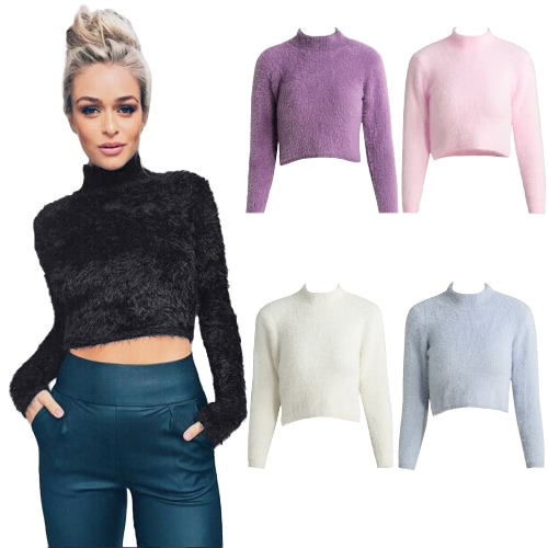 New Fashion Women Knitted Fluffy Sweater Jumper Crop Top Turtle Neck Long Sleeve Mohair Slim Pullover Knitwear G3372GY