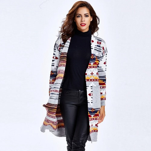 New Fashion Women Geometric Knitted Cardigan Open Front Long Sleeve Winter Loose Long Coat Outerwear Sweater Grey/Blue