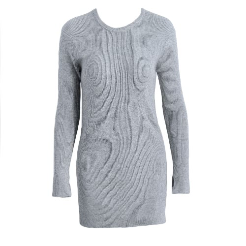 Fashion Women Long Ribbed Kitted Sweater Split Details Long Sleeves Pullover Knitwear Grey/Beige