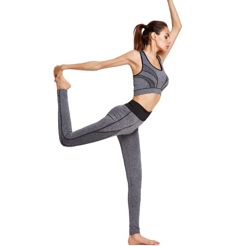 Buy Fashion Women Yoga Sports Suit Contrast Color Stripe Wireless Bra Leggings Gym Running Fitness Two-piece Set Yellow/Grey