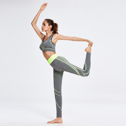New Fashion Women Yoga Sports Suit Contrast Color Stripe Wireless Bra Leggings Gym Running Fitness Two-piece Set Yellow/Grey
