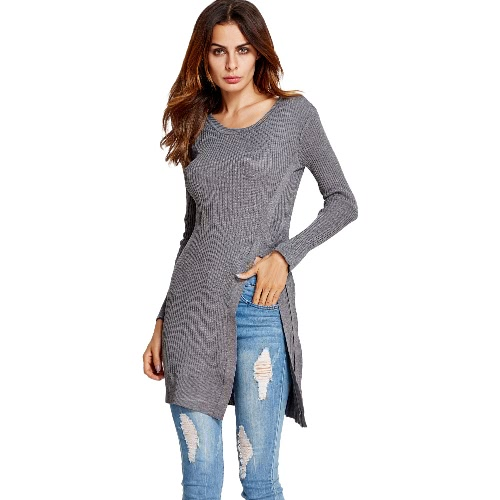 New Fashion Women Split Long Knitted Sweater Striped Side Tie Pullover Long Sleeve Bodycon Knitwear Jumper Top
