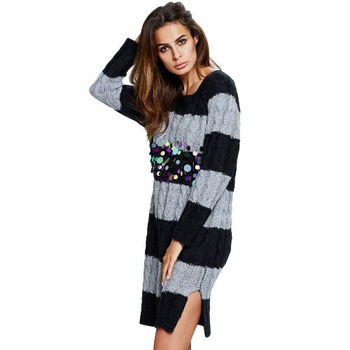 Autumn Women Knit Sweater Dress Striped Contrast Twist Pullover Jumper Sequin Casual Loose Knitwear Red/Grey/Beige
