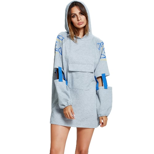 New Women Long Hoodie Geometric Print Cutout with Strappy Detailing Slit Hem Front Pocket Casual Pullover Top Grey