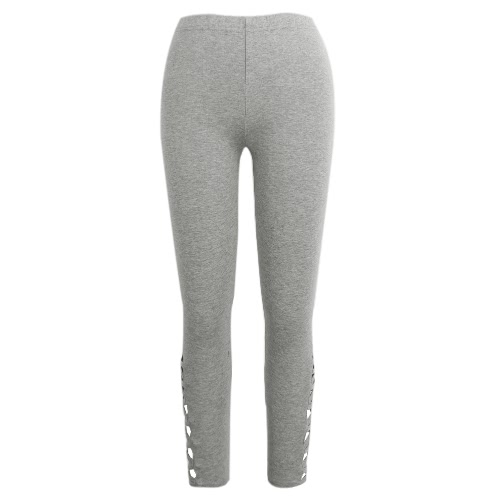 Women Pants Trousers Fitness Elastic Leggings Tights Cutout Workout Sportswear Black/Light Grey/Dark Grey
