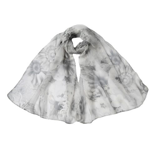New Fashion Women Scarf Floral Print Color Block Elegant Long Thin Pashmina Purple/Grey/Yellow