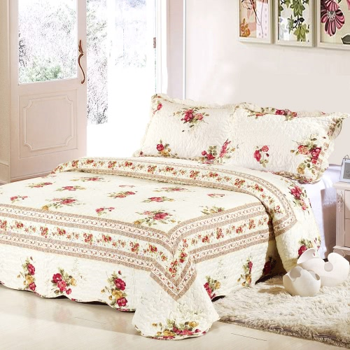 Buy Bedding Set 230 * CM Checked Flower Printed Pattern Polyester Fiber Patchwork Quilt Comforter Pillow Cases Bedclothes Home Textiles