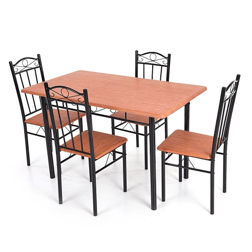 Image of IKAYAA 5pcs Modern Dining Table Chairs Set Wood Steel Frame Furniture for Kitchen Restaurant