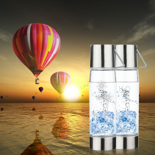 550ml Large Capacity Hydrogen Rich Water Bottle High Quality Transparent Water Glass with Lid Portable BPA-free Business Nice Water Ionizer Glass Cup