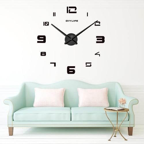 Buy Modern 3D DIY Wall Clock Quartz Clocks Large Horloge Watch Acrylic Glass Mirror Effect Home Living Room Decor Decoration