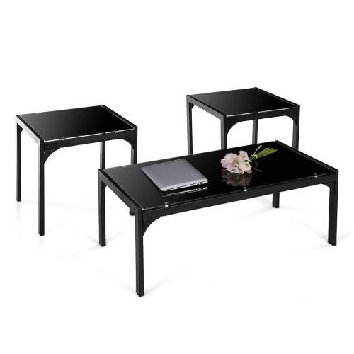 IKAYAA moderne élégant cadre métallique Coffee Table avec 2 End Table d'appoint Salon Cocktail Table Set Home Furniture