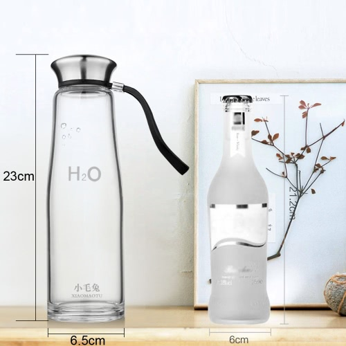 500ml Portable Large Capacity Sport Water Cup Bottle Environmental High Borosilicate Glass Stainless Steel Cover H16926-1