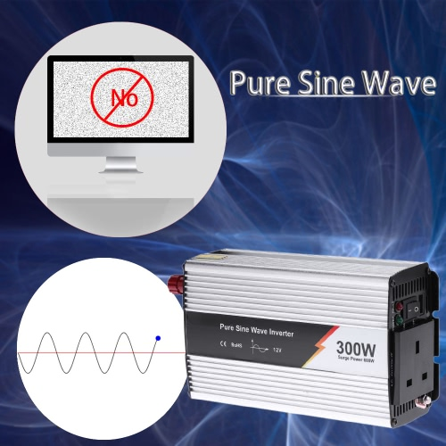 1000W(2000W Peak) Pure Sine Wave Power Inverter Household Car Power Converter Charger Adapter LED Di