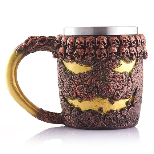 Hot Unique Stainless Steel Liner Creepy 3D Skull Coffee Beer Milk Mug Cup Tankard Novelty for Halloween Decoration Gift H17562-1