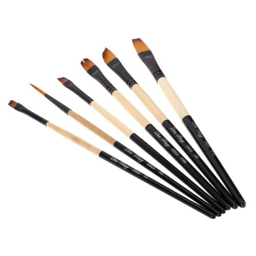 6pcs Nylon Hair Paint Brush Set Round