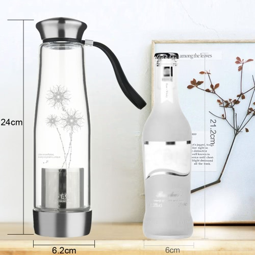 500ml Portable Large Capacity Water Cup Bottle Environmental High Borosilicate Glass Removable Stainless Steel Bottom Filter