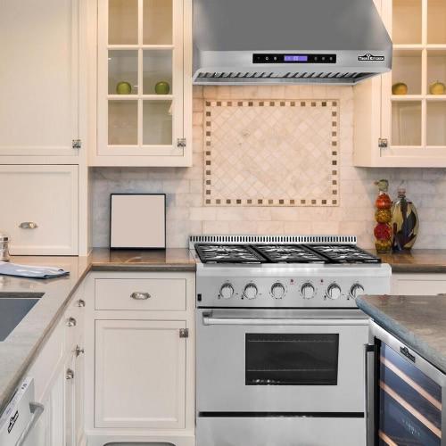 "Image of THOR KITCHEN HRH4801U 48"" Stainless Steel Under Cabinet Range Hood 900 CFM Kitchen Ventilator High Quality Baffle Filter"