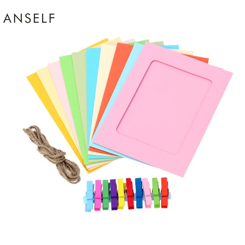 Anself 10pcs/set Fashion DIY Hanging Paper Photo Frame 10 Different Solid Color Picture Frames with 2 Meters Hemp Rope and Colorful Mini ClothespinsAnself 10pcs/set Fashion DIY Hanging Paper Photo Frame 10 Different Solid Color Picture Frames with 2 Meters Hemp Rope and Colorful Mini Clothespins<br><br>Blade Length: 21.0cm