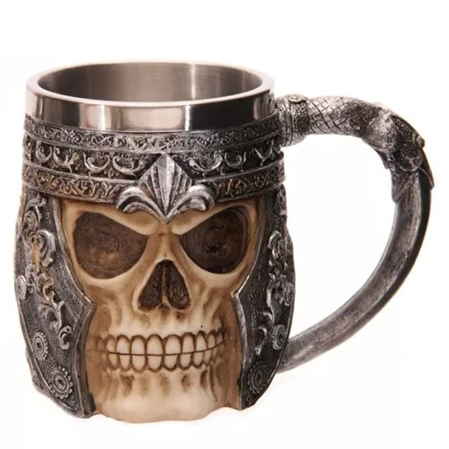 Hot Unique Stainless Steel Liner Creepy 3D Skull Coffee Beer Milk Mug Cup Tankard Novelty for Halloween Decoration Gift H17562-2