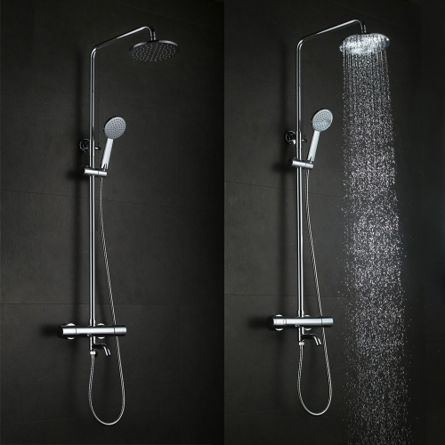 Wall Mounted Brass 38 Degree Thermostatic Chrome Shower Panel Faucet Bathroom Set Round Hand Shower Head Tap Adjustable Height for Hotel Home H16193