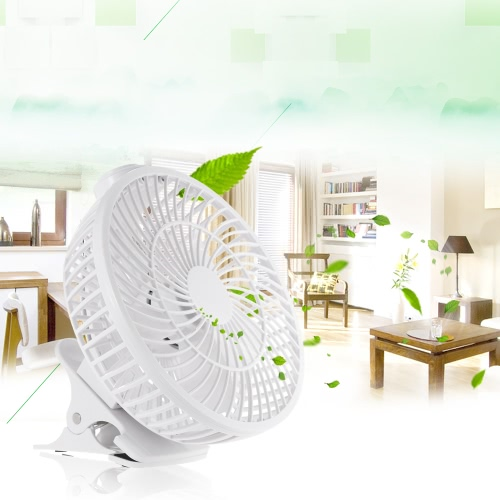 Image of Portable White Mini USB Fan with Clip-on Design Stepless Controllable Speed Home Office Desk Cooling Clip Fan