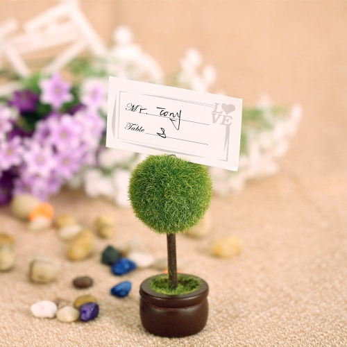 4pcs Lovely Green Pot Plant Place Card Holders Table Mark Cards for Wedding Banquet Decoration H17143