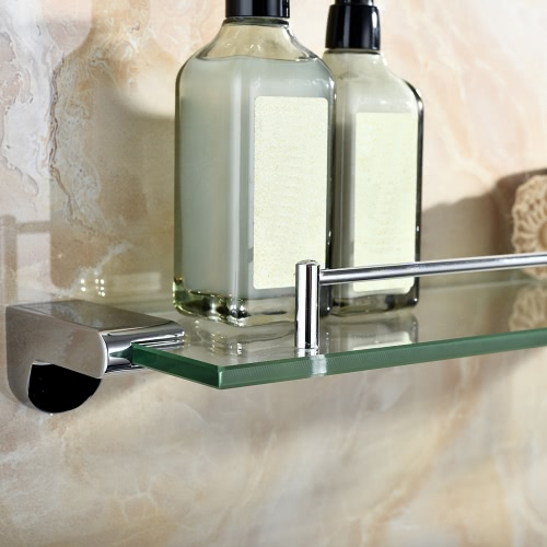 Homgeek High-quality Multi-use Stainless Steel Thick Glass Bathroom Kitchen Shelf Storage Rack Wall Mount Household Hotel Organizer Holder Chrome