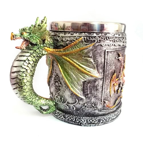 Hot Unique High Quality Stainless Steel Royal Dragon Coffee Beer Milk Mug Cup Tankard Novelty for Decoration Gift H17563