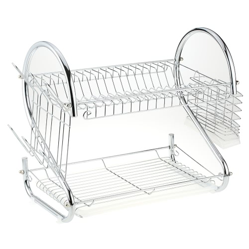 Chromed Metal Kitchen Dish Drying Rack 2-Tier Plate Bowl Storage Shelf Bowl Cup Drainer Holder Organizer with Side Cutlery Chopsticks Basket
