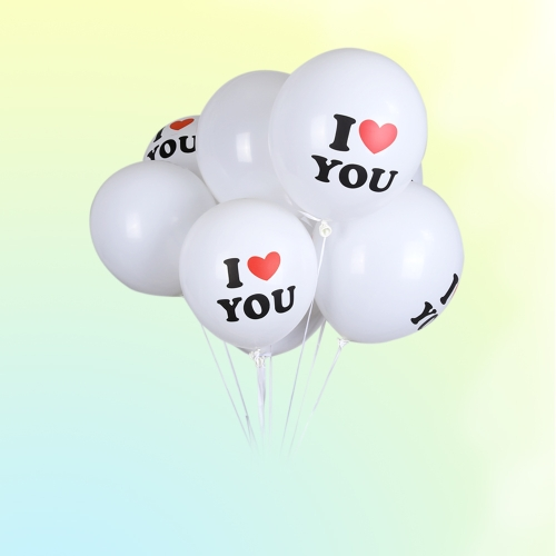 50-Pack Surprise 12 Inch White Latex Balloon I LOVE YOU Balloons Christmas Party Wedding Decorations European Wedding   Parties Wedding Supplies