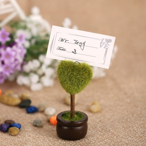 4pcs Lovely Green Heart Pot Plant Place Card Holders Table Mark Cards for Wedding Banquet Decoration H17144