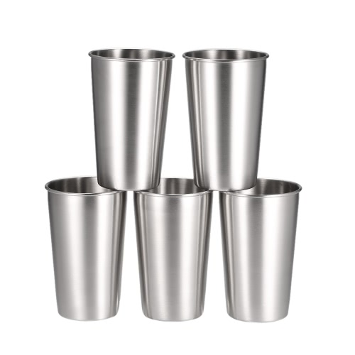 5 PCS Stainless Steel Pint Cups Tumbler Beer Mug Travel & Cooler Mugs Party Camping Picnic Juice Cup Drop Resistance H17594