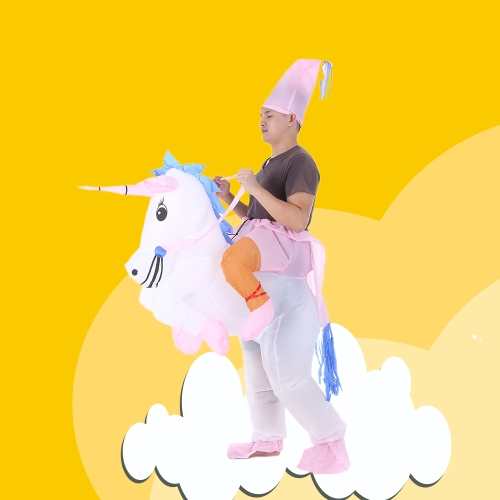 Cute Adult Inflatable Unicorn Costume Suit Blow Up Fancy Dress Party Halloween Inflatable Pegasus Outfit Jumpsuit for Men Women