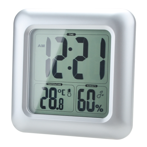 LCD Water Resistant Shower Clock Bathroom Kitchen Wall Clock Temperature humidity Measurement with Sucker H16517