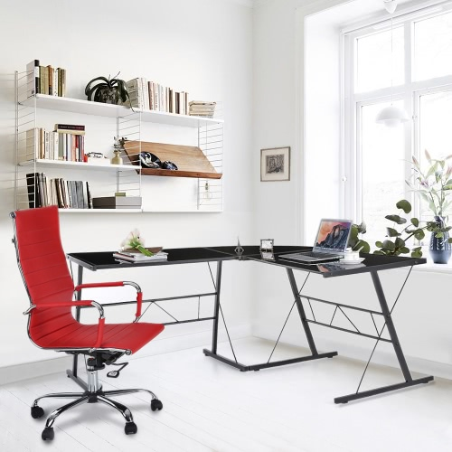 IKAYAA Modern L-shaped Corner Computer Desk PC Laptop Table Office Workstation Tempered Glass Top 100KG Load Capacity Home Office Desks Furniture