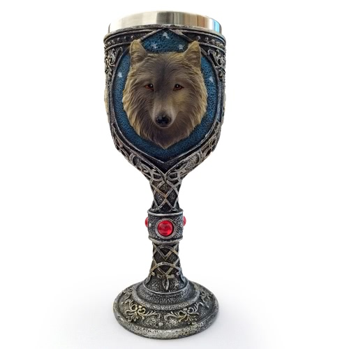Hot Unique Cool Creative Novelty Resin Stainless Steel Liner Creepy 3D Wolf Goblet Beer Milk Mug Wine Cup Drinkware for Decoration Gift H17677