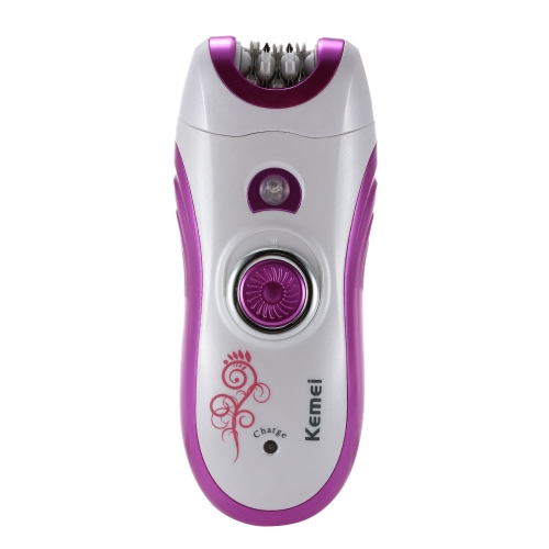 Kemei Electric Epilator and Shaver Women Rechargeable Hair Remover Depilator Razor with Grinding Nail Tool EU Plug H14328