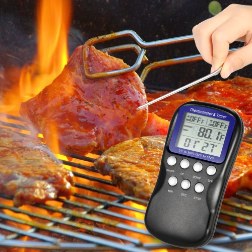 LCD Food Cooking Thermometer Timer Digital Probe Thermometer Barbecue Kitchen BBQ Meat Poultry Temperature Gauge H16548