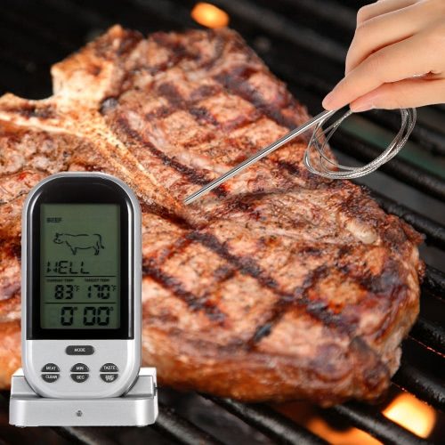 LCD Wireless Cooking Food Thermometer Timer Digital Probe Meat Thermometer Barbecue Kitchen BBQ Temperature Gauge H16549