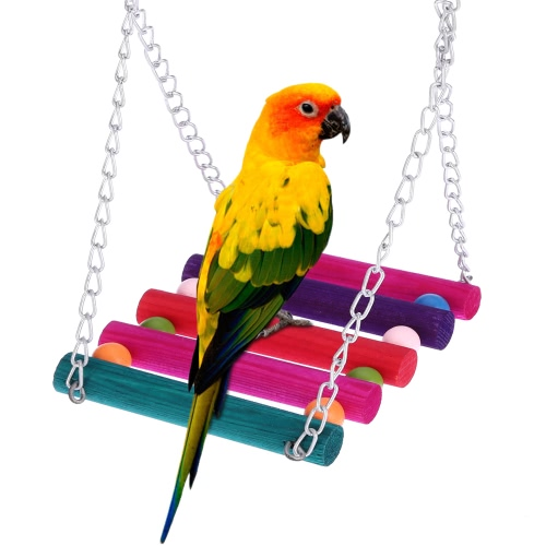 Cute Natural Wood Pet Parrot Bird Swing
