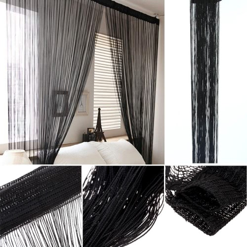 2Pcs 100*200cm Solid Color Fantasy High End Door Thread Curtain Window  String Curtain High Quality Room Divider Gorgeous Setting Wall Decoration  Classy ...
