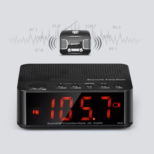Buy Portable Wireless Bluetooth Alarm Clock Speaker iPhone iPad Android Smart Phone Computer Tablet FM Stereo Digital Media Player Muisc / Hands-free Speakerphone TF Card AUX Supported White/Black