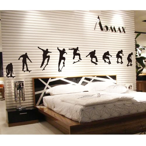 Skateboard Sports Cool Life Simple Black DIY Wall Stickers Wallpaper Art Decor Mural Room Decal
