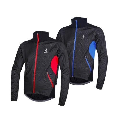 WOLFBIKE Men Fleece Thermal Winter Cycling Jacket Windproof Bike Bicycle Wind Coat Clothing Casual Long Sleeve Jersey Waterproof Blue XL