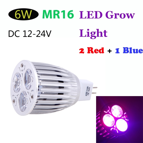 MR16 6W LED Plant Grow Light Hydroponic Lamp Bulb 2 Red 1 Blue Energy Saving for Indoor Flower Plants Growth Vegetable Greenhouse DC12-24V