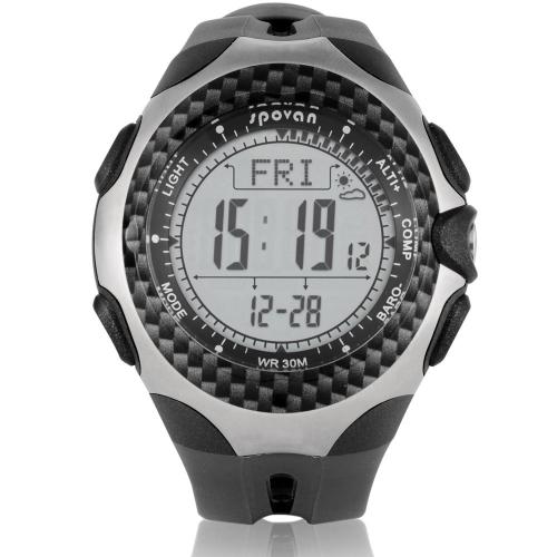 Sports Spovan MINGO Multifunction Outdoor Digital Compass Barometer Pedometer Temperature Altimeter Weather Forecast Men Watch
