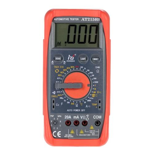 HD AT2150B Automotive Meter Tester Digital Multimeter Tachometer Cap. Temp. Tester Sensor w/ LCD Backlight